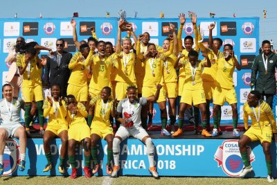 South Africa celebrate winning the 2018 Cosafa Womens Championship Final football match between Cameroon and South Africa at Wolfson Stadium in Port Elizabeth on 22 September 2018.
