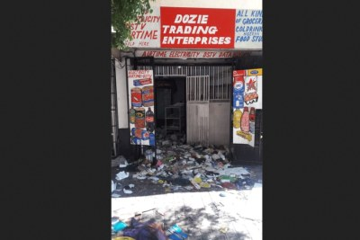 One of the shops belonging to a Nigerian that was looted in the wake of Sunday's attacks on Nigerians in South Africa.