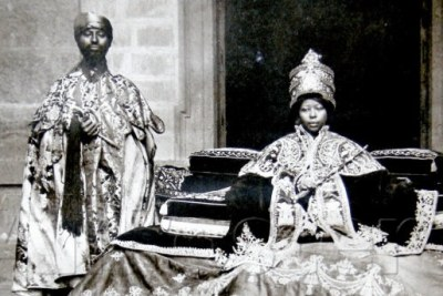 Empress Zewditu with one of her favored priests.