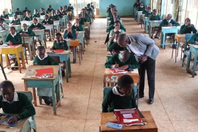 Moi Nyeri Complex primary school candidates sit the KCPE mathematics paper (file photo).