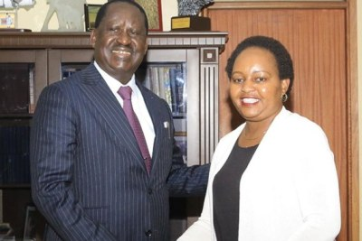 Opposition leader Raila Odinga with Kirinyaga Governor Anne Waiguru.