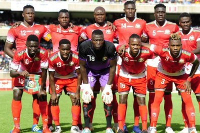 Harambee Stars players line up before facing Ethiopia in an Africa Cup of Nation qualifying match on October 14, 2018 at Moi International Sports Centre, Kasarani in Nairobi.