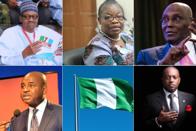 President Muhammadu Buhari (All Progressives Congress), Oby Ezekwesili (Allied Congress Party of Nigeria) Atiku Abubakar (Peoples Democratic Party), Kingsley Moghalu (Young Progressives Party), Fela Durotoye (Alliance for New Nigeria)