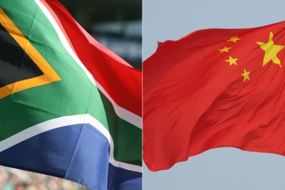 Flags of South Africa (left) and China.