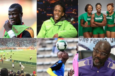 Top-left: Former Ivorian soccer player Emmanuel Eboué. Top-centre: South African athlete Thabang Mosiako. Top-right: Nigeria's women bobsled team. Bottom-left: Pitch invasion at the Moses Mabhida stadium. Bottom-centre: Zimbabwean striker Khama Billiat. Bottom-right: Liberian President George Weah.