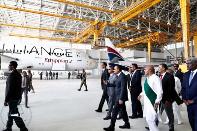 Ethiopian Prime Minister Abiy Ahmed visiting the expanded Bole International Airport.