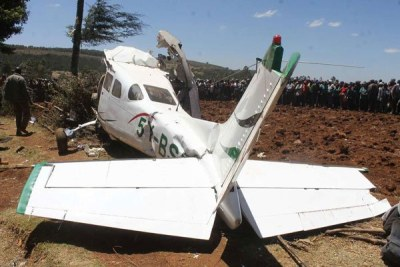 The wreckage of the aircraft following the crashed in Londiani, Kericho County on February 13,2019. Five people were killed.
