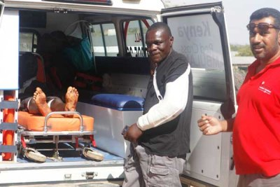 A shooting victim in Mandera being prepared ready for the long journey to Nairobi for specialised treatment.