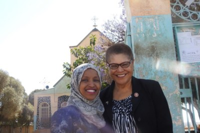 Representatives Ilhan Omar and Karen Bass visiting St Michael Church in Asmara.