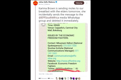 Screenshot of a tweet from EFF leader Julius Malema accusing veteran journalist Karima Brown of using