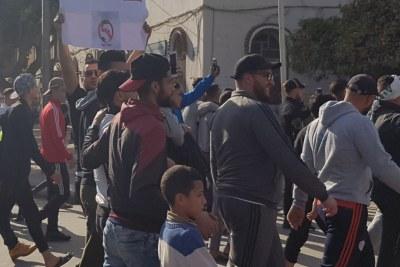 Protesters in Algeria in 2019.