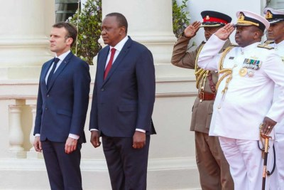 President Uhuru Kenyatta with visiting French President Emanuel Macron at the State House, Nairobi.