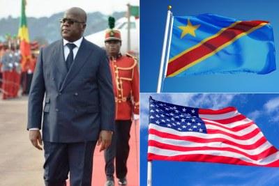 à gauche: Président de la RDC, Felix Tshisekedi.  En Haut à droite: Drapeau de la RDC  En bas à droite: Drapeau des USA