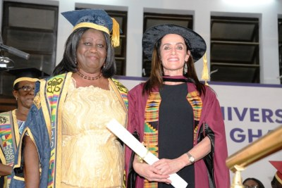 Dr. Mrs. Mary Chinery-Hesse, Chancellor of the University of Ghana and K. Riva Levinson credit: University of Ghana