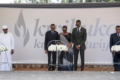President Paul Kagame and First Lady Jeannette Kagame, flanked by first son, Ivan Kagame, are joined by Presidents Idriss Déby Itno of Chad, far left, and Denis Sassou Nguesso of Republic of Congo, far right, in laying wreaths and honouring victims of the 1994 Genocide against the Tutsi, at Kigali Genocide Memorial, on Sunday morning.