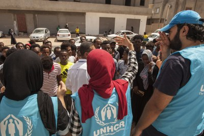 As renewed fighting broke out in Tripoli, Libya, in early September, UNHCR's local office provided assistance to refugees and asylum-seekers who escaped from detention centres as rockets exploded around the capital (file photo).
