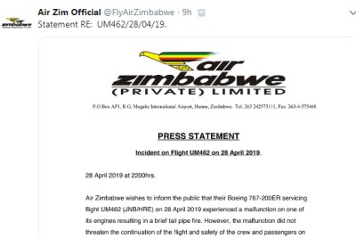 The Air Zimbabwe tweet about the mid-air engine fire incident.