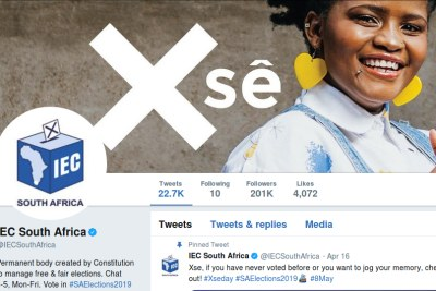 The Electoral Commission of South Africa's Twitter page on May 6, 2019.