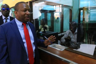 Nairobi City County Governor Mike Sonko launching the biometric system.