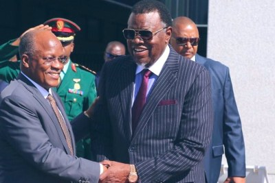 Tanzania President John Magufuli with Namibian President Hage Geingop at the State House during official talks at the State House.