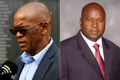 Left: ANC Secretary General Ace Magashule. RIght: Finance Minister Tito Mboweni.