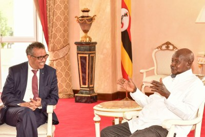 World Health Organisation director general Dr Tedros Adhanom Ghebreyesus and President Yoweri Museveni at State House, Entebbe, on June 17, 2019.
