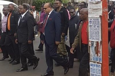 MCP Vice President Sidik Mia and his wife Abida leading a march (file photo)