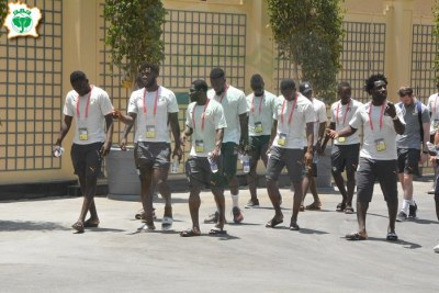 Ivory Coast's team ahead of their Group D game against South Africa at the 2019 Afcon tournament in Egypt.