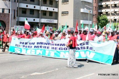 Joint NLC, TUC, ULC nationwide protest over alleged recalcitrance of government and employers to pay adequate minimum wage (file image).