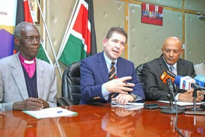 From left: Ethics and Anti-Corruption Commission chairman Eliud Wabukala, U.S. ambassador Kyle McCarter and EACC chief executive officer Twalib Mbarak address the media at Integrity Centre (file photo).