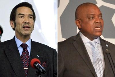 Left: Former Botswana leader Ian Khama. Right: President Mokgweetsi Masisi.