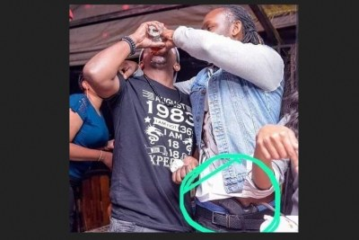 The controversial picture that landed popular Kenyan celebrity , DJ Moh in trouble Photo credit Nairobi Gossip Club.