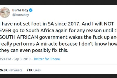 Burna Boy tweet.