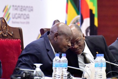 President John Magufuli was hosting President Yoweri Museveni at the Tanzania-Uganda Business Forum in Dar es Salaam.