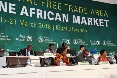 Réunion sur la zone africaine de libre échange, au Rwanda.