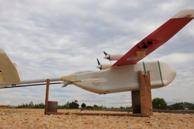 A drone lands in Muhanga District, Southern Province (file photo).