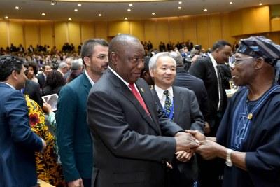 President Cyril Ramaphosa Meets Nigeria's Obasanjo
