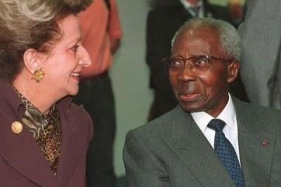 Mme Colette Senghor avec le président du Sénégal, Léopold Sédar Senghor,