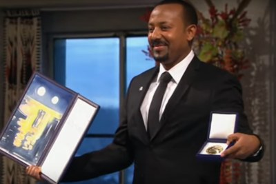 Ethiopian Prime Minister Abiy Ahmed with his Nobel Peace Prize on December 10, 2019.