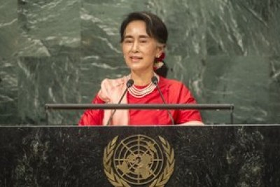 Aung San Suu Kyi, State Counsellor and Minister for Foreign Affairs of the Republic of the Union of Myanmar, addresses the general debate of the General Assembly's seventy-first session on 21 September 2016.