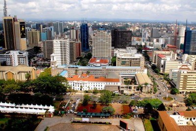 An aerial view of a section of Nairobi's skyline.