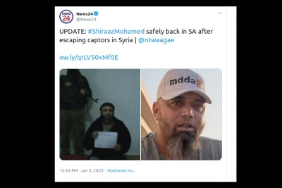 A tweet by News24 confirming Shiraaz Mohamed's return home to South Africa.