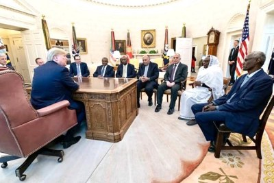 President Trump meeting at the White House with foreign & water resources ministers from Egypt, Ethiopia and Sudan on the sideline of the Grand Ethiopian Renaissance Dam #GERD negotiations. A joint statement issued January 15 outlined progress and said talks would resume on January 28