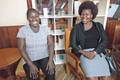 Millicent Kagonga (left) and her colleague Rose Adero from the Symbol of Hope Warriors Organisation which supports cancer patients.