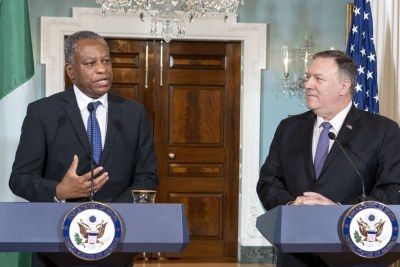 Secretary of State Michael R. Pompeo and Nigerian Minister of Foreign Affairs Geoffrey Onyeama deliver statements to the press, at the Department of State, in Washington D.C., on February 4, 2020.
