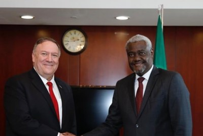 U.S. Secretary of State Michael R. Pompeo in Addis Ababa with Moussa Faki Mahamat, Chairperson of the African Union Commission.
