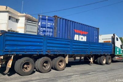The truck and container in which dozens of bodies were found in Mozambique.