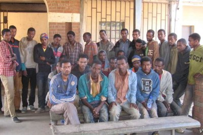 Illegal Ethiopian immigrants who were rounded up by the police, at an immigration office, in the northern district of Karonga, Malawi (file photo).