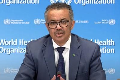 World Health Organization Director General Tedros Adhanom Ghebreyesus during the media briefing on June 3.