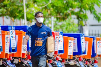 Quality Courier Services is an IIA-supported SME that focuses on package pickup and delivery in Accra. They are committed to ensuring their drivers have the required COVID-19 protective masks and gloves.